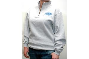 Sweatshirt, Quarter Zip, Gray, Large