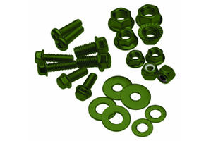 Bolt, Flange, M8XP1.25X35, Olive Green, Pk-10